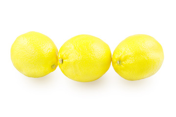 Three lemons on a white background