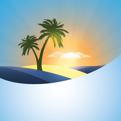Palm in an Island - Abstract Summer Holiday Background