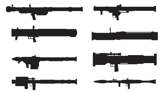 Vector silhouettes of rocket and grenade launchers,bazooka,manpa
