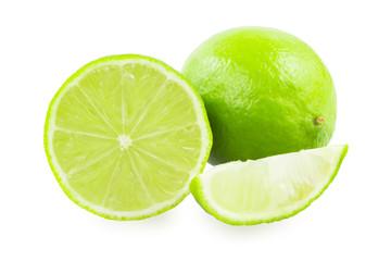 A lime and a slice of lime and a slice of lime