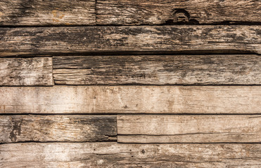 Wooden logs wall of rural house for background and texture