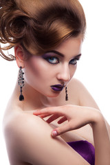 Aluminium Prints Manicure Stunning female looking at camera with make up and creative hair