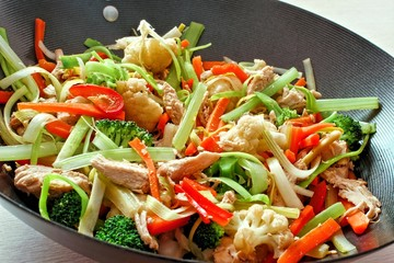 Mixed stir fry vegetables with chicken in a wok