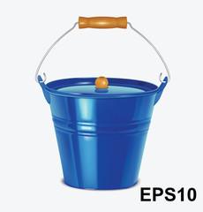 Metal blue bucket. Vector illustration