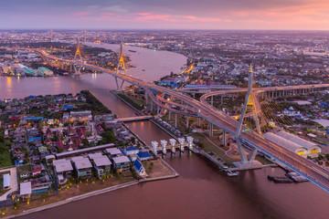 The bridge crosses the Chao Phraya River twice.