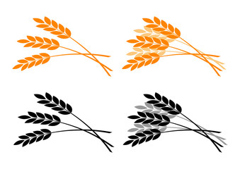Agricultural icons on white background