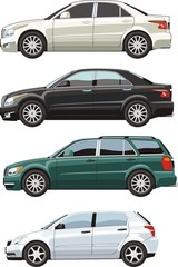 four original design car sides