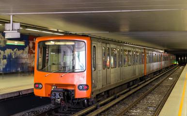 Train on Heysel metro station in Brussels, Belgium
