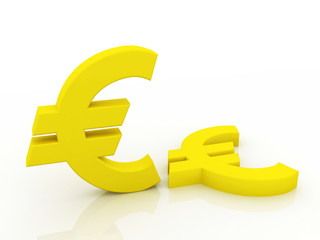 Digital illustration of 3d euro symbol in white background