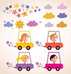 cute children driving cars kids stuff design elements set