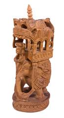 Elephant with sedan chair woodden statue