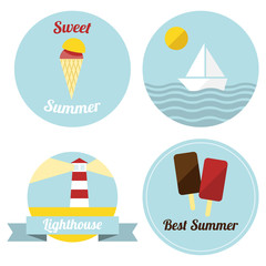 Flat summer illustrated labels