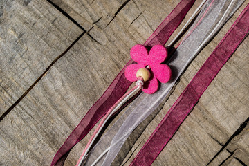 ribbon with pink flowers, ribbons, decorations