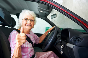 Confident driving grandma Wall mural