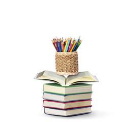Colour pencils open book