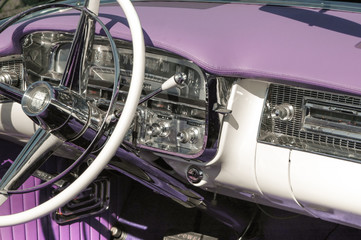 Wall Mural - classic car dashboard and steering wheel circa 1950