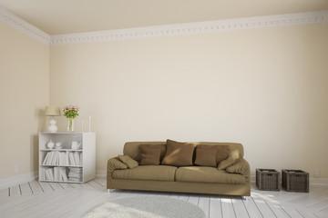 Wohnzimmer mit Sofa vor Wand