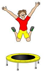 Mann springt auf einem Trampolin