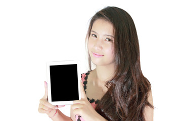 Beautiful woman smile and showing tablet pc
