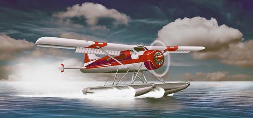 Wasserflugzeug landet auf Ozean