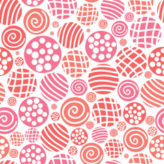 Vector warm seamless pattern, polka dot fabric, backgroud, textu