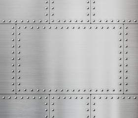 Wall Mural - metal plates with rivets background