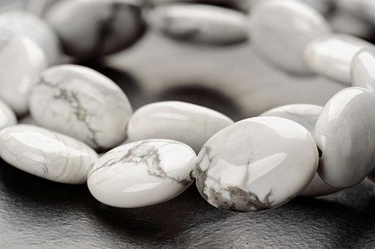 A strand of howlite beads