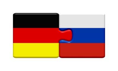 Puzzleteile: Deutschland und Russland zusammen