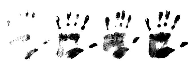 different black handr prints, vector