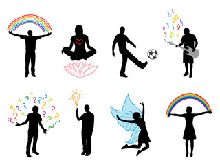 people silhouette in different actions, vector