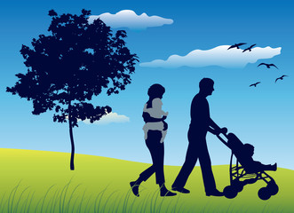 family with children and carriage walking on field, vector