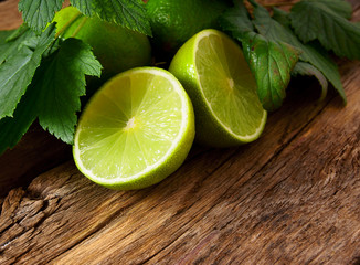Lime. On wooden board.