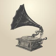 Phonograph - vintage engraved illustration, retro style