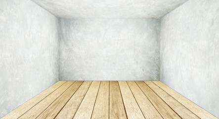 Empty cement wall and wooden floor, perspective, template.