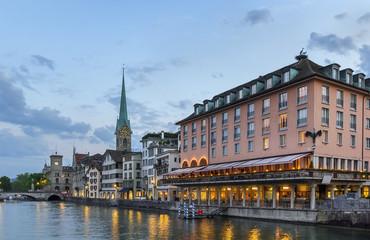 embankment of Limmat river, Zurich