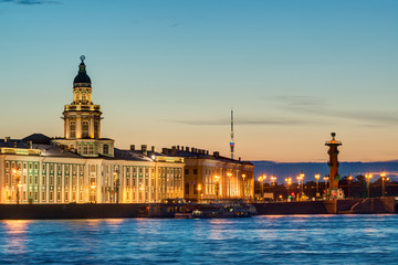 Night view of the Neva embankment in St. Petersburg