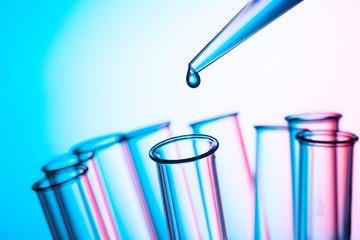 scientific concept, pipette and test tube