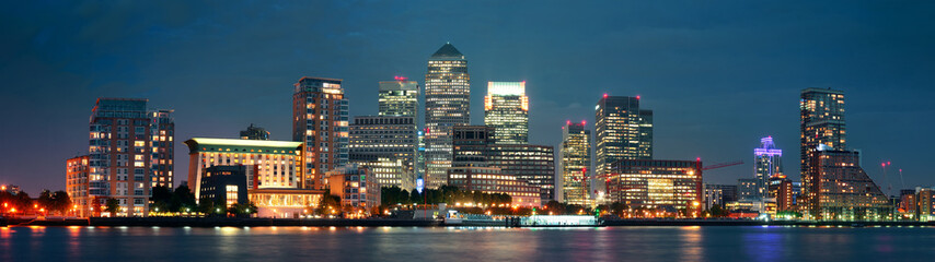 Fotomurales - London Canary Wharf at night