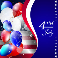 Independence day - vector background with balloons