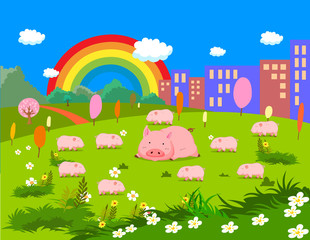 Farm animals with pigs
