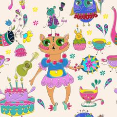 Cartoon color animal party