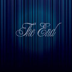 end on blue curtain