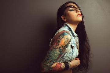 lovely woman with tattoo