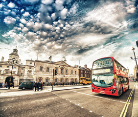 Aluminium Prints London red bus Modern Double Decker Bus in the streets of London