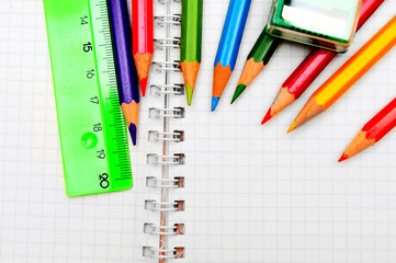 pencils, ruler and eraser