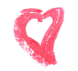Sign in the form of heart from under lipsticks.
