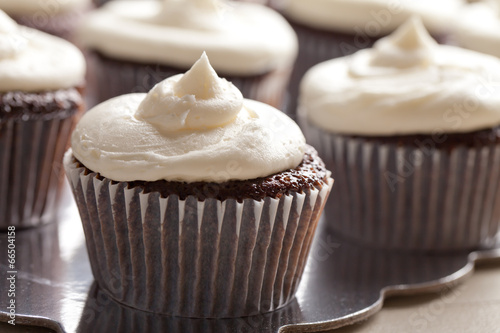 Chocolate gourmet cupcakes with sprinkles and buttercream
