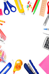 School accessories on white background.