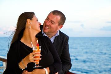 Romantic happy couple on cruise ship