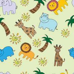 Seamless pattern  with cute african animals.